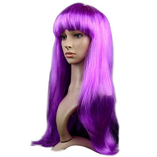 Sunward Fashion Womens Girls Small Roll Bang Long Straight Hair Human Wigs Hallowmas Masquerade Hair Wig (Purple)