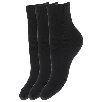 Chaussettes d'hiver thermiques pour enfants, garçons/filles (lot de 3 paires) (EUR 26-31 (5-7 ans)) (Noir)