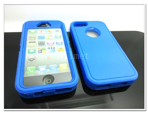 #!  Multi Color Iphone 5 5S Body Armor Silicone Hybrid Cove Hard Case, Three Layer Silicone PC Case Cover for iPhone 5 5S (Blue+Blue)