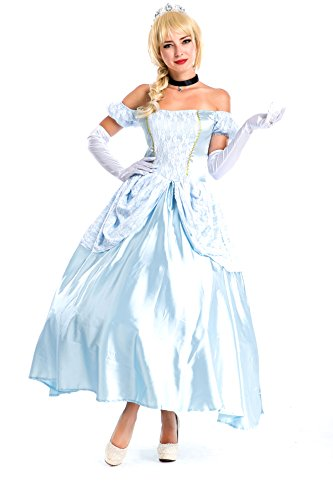 Voglee Princess Cinderella Elite Collection Adult Halloween Costume (4pieces)