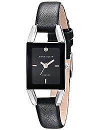 Anne Klein Women's AK/1479BKDB Diamond-Accented Dial Black Leather Strap Watch