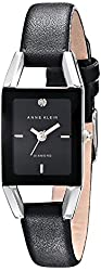 Anne Klein Women's AK/1479BKDB Diamond-Accented Dial Black Leather Strap Watch