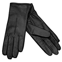 Fownes Womens Black Leather Driving Gloves, Size X-Large