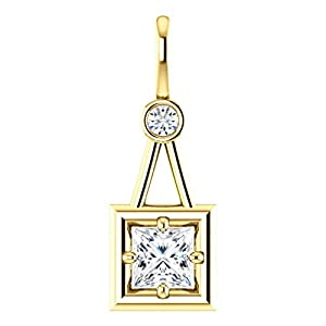 10K Yellow Gold Princess Cut Diamond Pendant - 0.56 Ct.