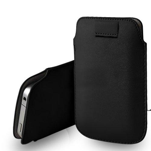 Huawei Ascend G620s Black Leder Pull Tab Tasche Tasche & Poliertuch