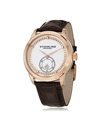 Stuhrling Original Men's 720.04 Circuit Classique Automatic Brown/White Leather Watch
