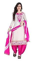 RajLaxmi Women's Fashion White & Pink Chanderi Silk Dress Material