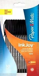Paper Mate Inkjoy 100 CAP Capped Ball Pen Medium Tip 1.0mm - Black (Pack of 10)
