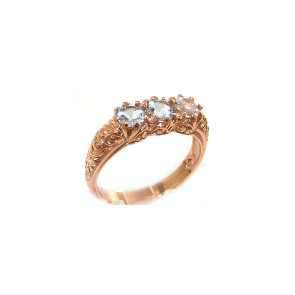 Luxury 9K Rose Gold Womens Victorian Style Aquamarine Trilogy Ring   Size 9.5   Finger Sizes 5 to 12 Available