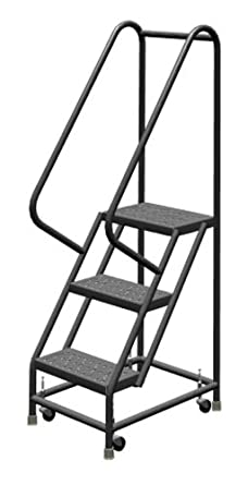 Tri-Arc KDSR103166 Ambassador-P 3-Step Steel Rolling Industrial & Warehouse Ladder with Perforated Tread