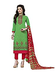 MS trends Women's Cotton Unstitched Dress Material(Aashiqui gold 61014_Green_Free Size)