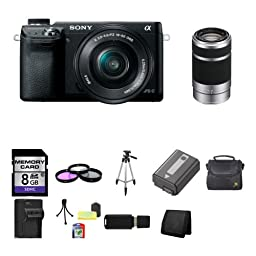 Sony Alpha NEX-6 Mirrorless Digital Camera with 16-50mm Zoom Lens (Black) + Sony SEL55210 55-210mm f/4.5-6.3 Lens 8GB Package 8