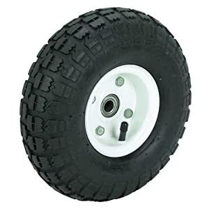 10 in. Haul-Master Pneumatic Tire on White Wheel - 4.10/3.50-4 KNOBBY TREAD by Haul-Master