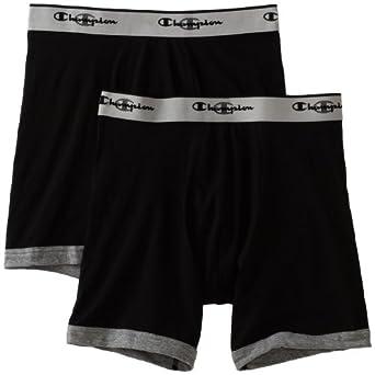 Champion Men's Performance Stretch Boxer Brief 2 Pocket, Small, Black/black