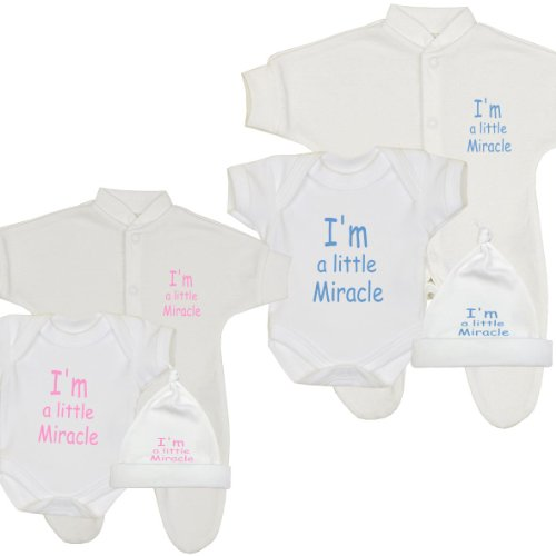 Premature Baby Clothes Sleepsuit, Bodysuit & Hat 'I'm a Little Miracle' PINK P2