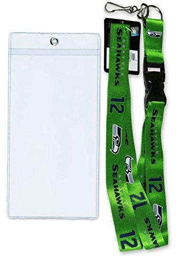 NFL Seattle Seahawks (1) Lanyard + (1) Ticket Holder, Official Licensed Breakaway Key Chain ( 12 Man Lanyard + Holder ) (Seahawk Ticket Holder compare prices)