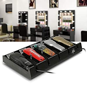 Barber Clipper Tray, Segbeauty Anti-slip Black Salon Clippers Organizer Razor Case with 5 Notches Professional Hair Trimmer Holder Hairdresser Stylists Barber Tools Box