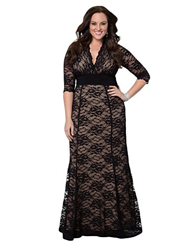 Shiny Life Women's Casual Full Lace Plus Size Half Sleeve V-Neckline Maxi Dress