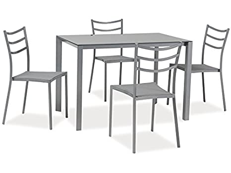 Essgruppe 'Kiara' Tisch + 4 Stuhle Glastisch, Farbe:Grau