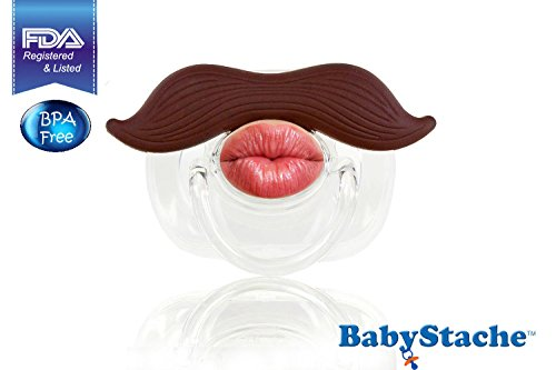 Babystache Kissable Mustache Pacifier For Your Little Cutie Pie - Kissable Romeo - Made From Safe Bpa Free, Latex Free, High Quality Silicone, Babystache Is An Fda Listed Medical Device
