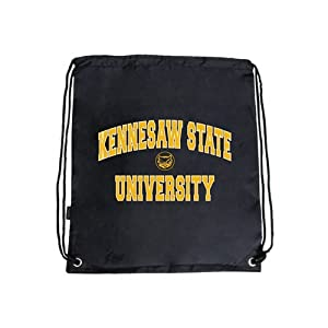 Kennesaw State Nylon Black Drawstring Backpack, Arched Kennesaw State University