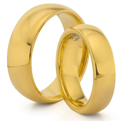 His & Her's 8MM/6MM Tungsten Carbide Classic Gold Wedding Band Ring Set (Available Sizes 4-14 Including Half Sizes)