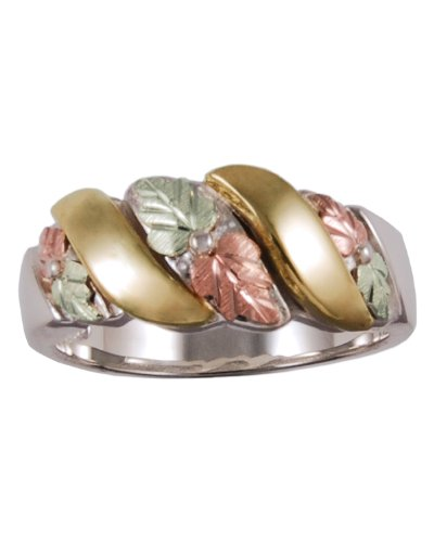 Womens Sterling Silver, 12k Pink Gold, 12k Green Gold Black Hills Motif Ring, Size 5.5