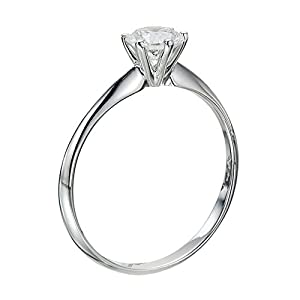 IGI Certified 14k white-gold Round Cut Diamond Engagement Ring (0.52 cttw, I Color, SI1 Clarity)