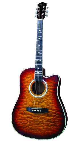 Indiana Acoustic Electric Guitar Thin Body Vintage Burst