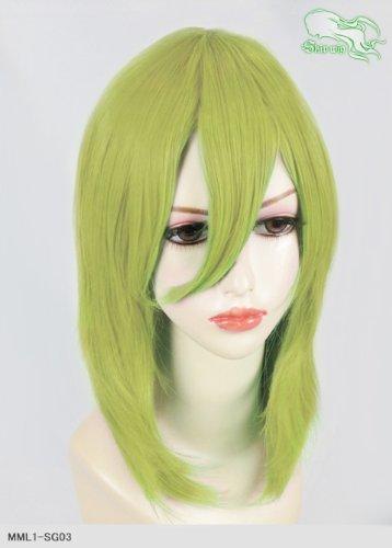 スキップウィッグ 魅せる シャープ 小顔に特化したコスプレアレンジウィッグ フェザーミディ スプリンググリーン