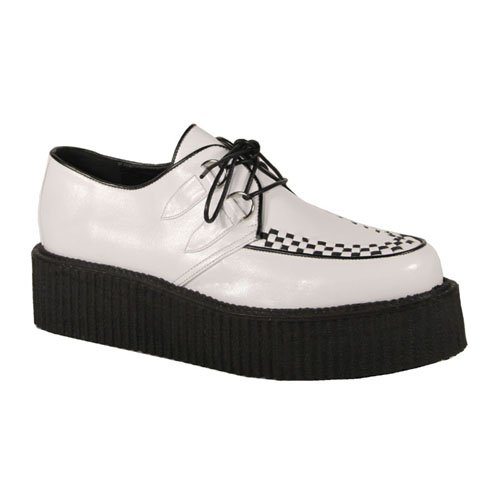 2 Inch Mens Sizing Platform White Basic Veggie Creeper Shoe Punk Goth Rockabilly