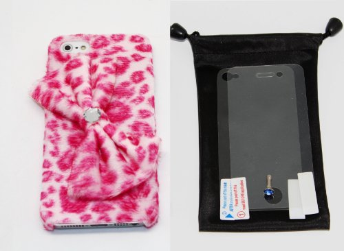 "(Pink) Premium Quality Leopard Print Snap-On Case With Bow Ribbon For Apple Iphone 5 (At&T, Verizon, Sprint) With ""Matte Anti-Glare Front Screen And Back Case Protectors + Diamond Earphone Dust Plug + Dust Bag Pouch"""