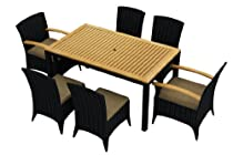 Hot Sale Arbor 7 Piece All-Weather Wicker Patio Dining Set with Sunbrella Heather Beige (5476-0000) Cushions
