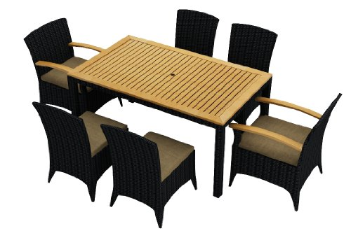 Harmonia Living Arbor 7 Piece Modern Outdoor Wicker Dining Set with Tan Sunbrella Cushions (SKU HL-AR-7DN-HB) photo