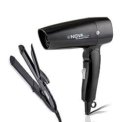 Nova Freshers Pack NHC 810 and NHP 8102 Foldable Hair Dryer (Black)