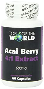 Top of the World Acai Berry - 600mg, 4:1 extract, 60 Capsules