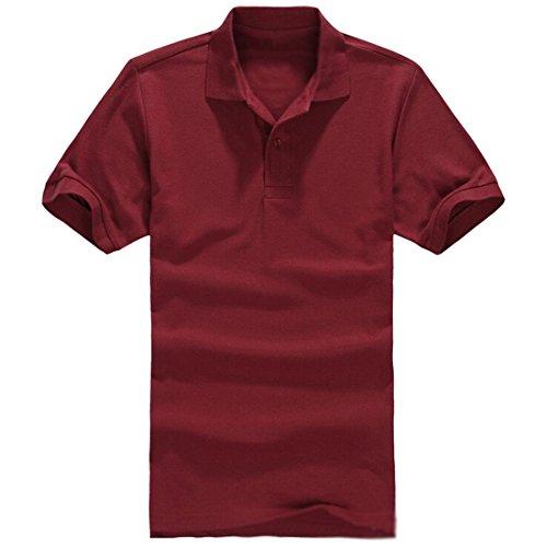 Nq Men'S Premium Comfortable Solid Short Sleeve Pique Polo Shirt S Wine