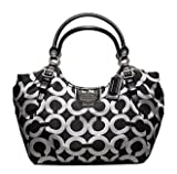 41gpviHXQxL. SL160  Coach Madison Op Art Lurex Abigail Large Tote 18639 (SV/Gunmetal Black/Black)