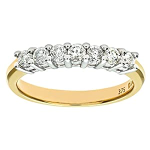 Ariel 9ct Yellow Gold Half Carat Diamond Claw Set Eternity Ring