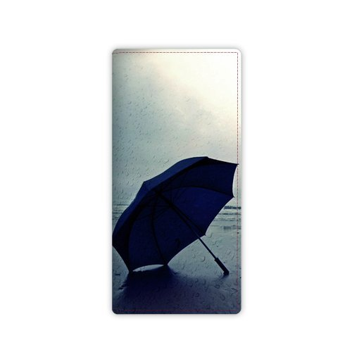 Anhome Blue Umbrella Put On The Seashore Custom Leather Wallet front-1044739