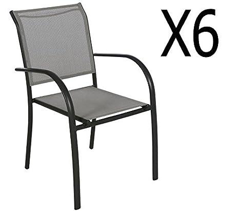 Lot de 6 chaises de jardin en Aluminium coloris galet - Dim : L 56 x P 65 x H 88cm - PEGANE -