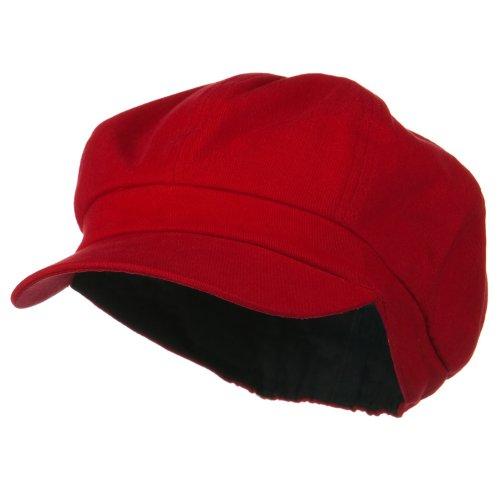Cotton Elastic Newsboy Cap-Red 2