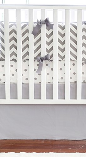 New Arrivals Crib Bed Set, Zig Zag Slate with Gray Trim