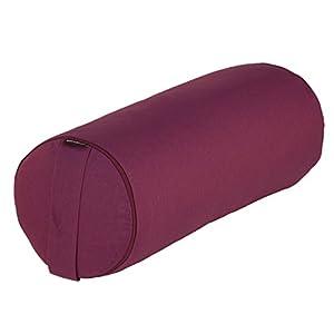 Yoga- und Pilates-Bolster BASIC 65 x Ø 23 cm, aubergine, Yoga Hilfsmittel mit Dinkel-Hülsen gefüllt, Dinkelfüllung, Yoga Rolle