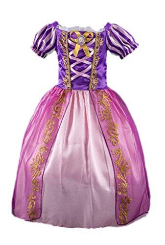 Ninimour Vestido de princesa Rapunzel Disfraces para Halloween Cosplay Costume para Niñas