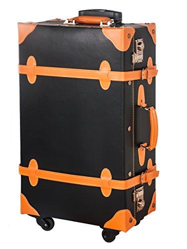 [OSJ]トランクケース TSAロック 四輪 超軽量 キャリーケース 【復古主義】(S, ブラック&オレンジ)