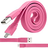 ITALKonline Amazon Kindle Fire HDX Hot Pink FLAT THIN USB 2.0 Micro USB MicroUSB SYNC & CHARGE Connect Charging Charger Tangle Proof Cable (1.1 Meter)