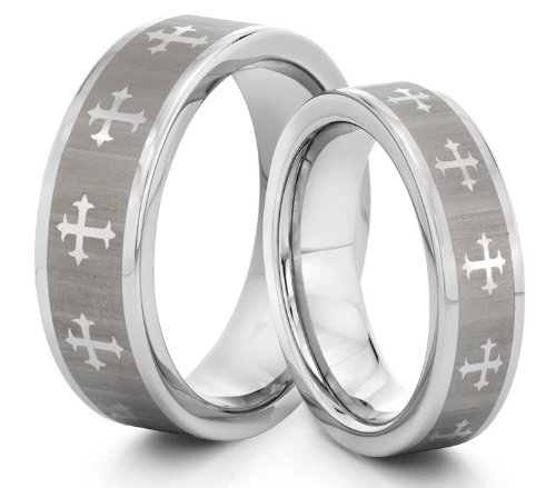His  &  Her's 8MM/6MM Tungsten Carbide Silver Cross Mens Wedding Band Ring Set w/Laser Etched Celtic Design (Available Sizes H - Z+2) EMAIL US WITH YOUR SIZES