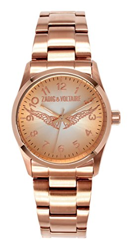 Zadig & Voltaire ZV 003/2TM Rock Women's Watch, Analogue Quartz, Pink Dial, Rose Gold Plated Steel Strap