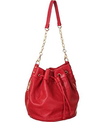 Red ''Crossbody Bucket'' Ostrich Print Shoulder Tote-Bag